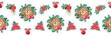Watercolor Christmas Seamless Pattern With Christmas Clock And Poinsettia