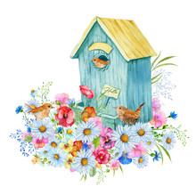 Birdhouse With Small Birds And Wildflowers .Illustration In Watercolor,a Bouquet Of Flowers On Isolated Background