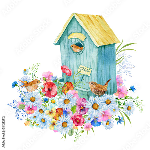 Birdhouse with small birds and wildflowers Fototapeta