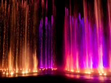 Colored Decorative Dancing Water Jet Led Light Fountain Show At Night