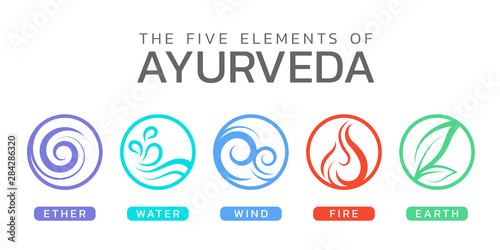 The Five elements of Ayurveda with ether water wind fire and earth circle icon s Canvas Print