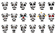Big Set Of Funny Panda Bear In...