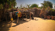 Leinwanddruck Bild - Lanscape with Mataya village of sara tribe people, Guera, Chad