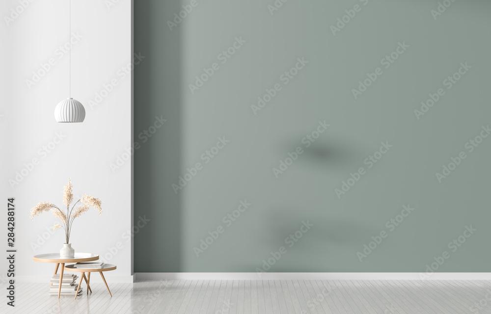 Pusta ściana w stylu skandynawskim. Minimalistyczny wystrój wnętrz. Ilustracja 3D. <span>plik: #284288174 | autor: Salih</span>
