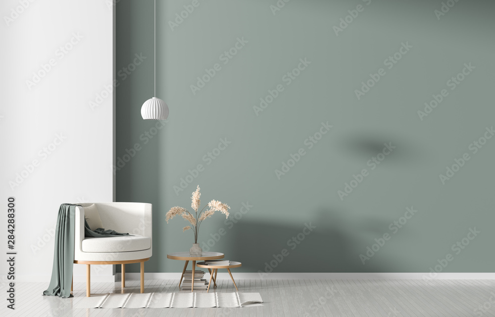 Fototapety, obrazy: Empty wall in Scandinavian style interior with armchair. Minimalist interior design. 3D illustration.
