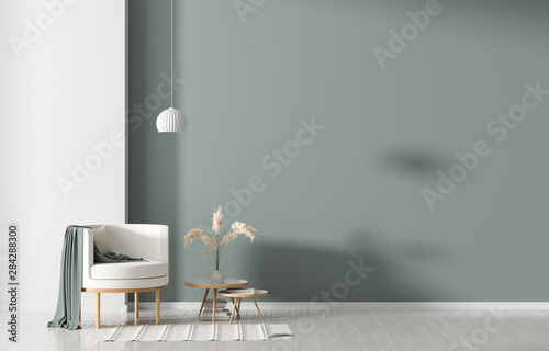 Empty wall in Scandinavian style interior with armchair. Minimalist interior design. 3D illustration.