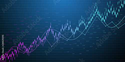 Fotomural  Stock market or forex trading graph in graphic concept for financial investment or economic trends business idea design