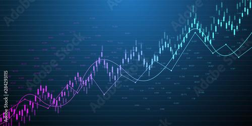 Carta da parati Stock market or forex trading graph in graphic concept for financial investment or economic trends business idea design