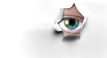 Eye Peeping Through Hole. Mixe...