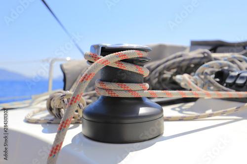 Obraz na plátně  Halyard winch on sailboat