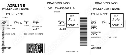 Pinturas sobre lienzo  airline boarding pass air travel flight ticket isolated on white paper backgroun
