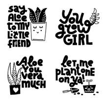 Set Of Plant And Gardening Jokes, Monochrome