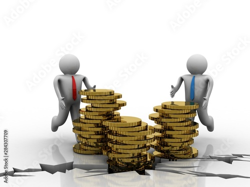 Fotografie, Obraz  3d rendering Gold coins with business man