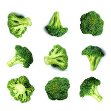 Vegetables Pattern With Broccoli. Raw Broccoli Collection Isolated On White Background.