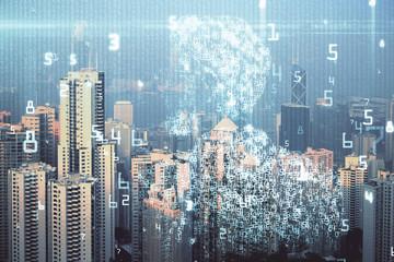Hologram tematu danych na widok miasta z wieżowca tło podwójnej ekspozycji. Koncepcja technologii.