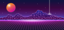 Retro Futuristic 1980s Style Mountain Landscape Background Glowing Sun Planet And Vertical Line Laser. 80s Sci-fi Digital Space Surface Grid With Bright Neon Light Effect Horizon Vector Illustration.
