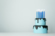 canvas print picture - Blue birthday cake