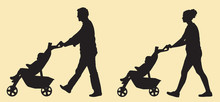 Silhouette Of Mother & Father Pushing Baby In Stroller