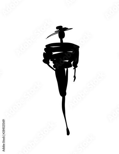 Fashion models sketch hand drawn silhouette pop art Wall mural