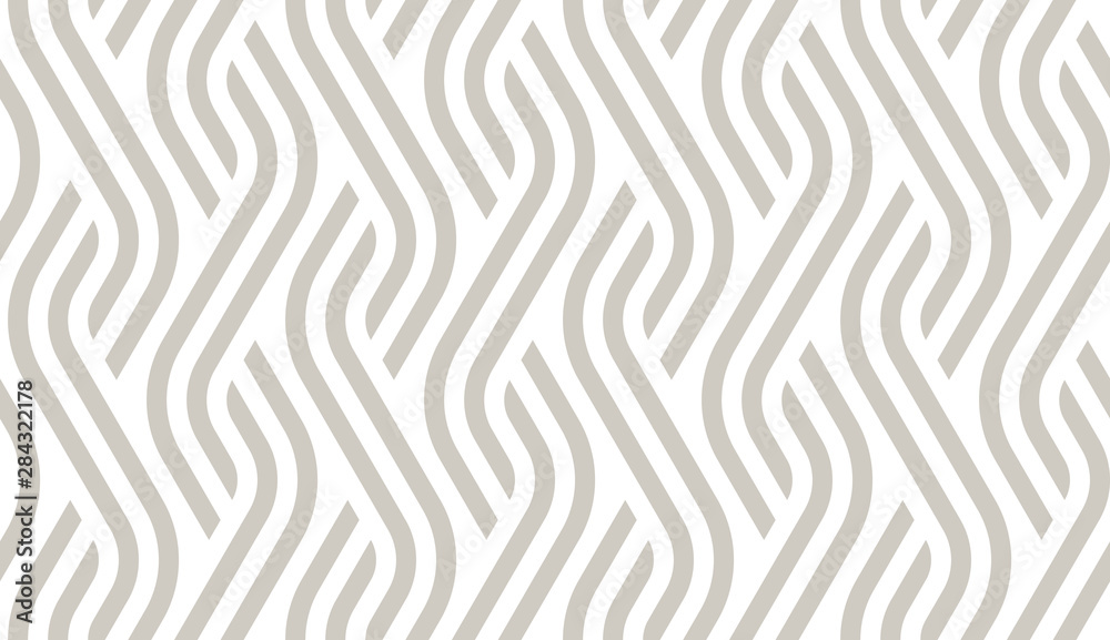 Fototapeta Vector geometric diagonal fabric waves seamless texture. Cream colour background.