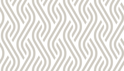 Vector geometric diagonal fabric waves seamless texture. Cream colour background.