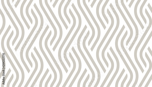 Obraz Vector geometric diagonal fabric waves seamless texture. Cream colour background. - fototapety do salonu