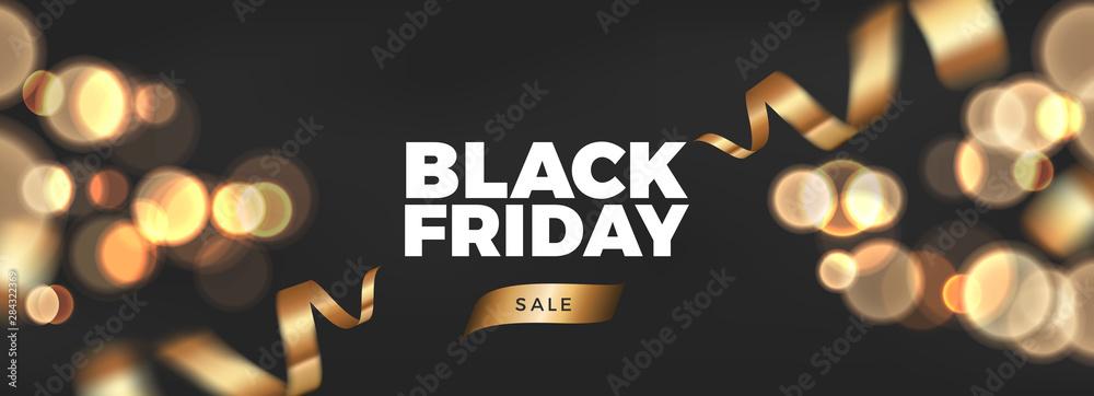 Fototapety, obrazy: Black Friday background design with golden ribbon decoration