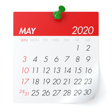 May 2020 - Calendar. Isolated On White Background. 3D Illustration