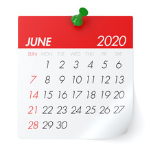 June 2020 - Calendar. Isolated On White Background. 3D Illustration