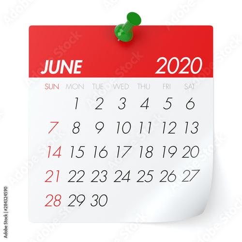 Obraz June 2020 - Calendar. Isolated on White Background. 3D Illustration - fototapety do salonu