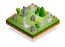 Isometric Cemetery Isolated On White For Web.