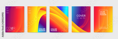 Cover design with abstract background color pattern and waves of color flow with motion of curved lines Fototapeta