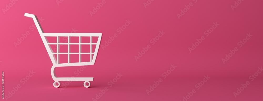 Fototapeta e-commerce symbol on  pink curved background. 3d illustration