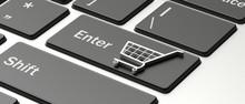 E-commerce Symbol On A Compute...