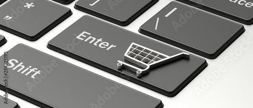 Photo e-commerce symbol on a computer keyboard, black friday concept