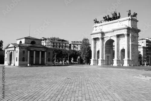Milan Italy. Black and white photo. Canvas Print