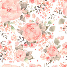 Bright Colorful Seamless Pattern With Flowers Of Roses And Peony.