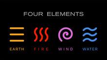 Four Elements Simple Line Symb...