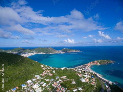 фотография High aerial view of philipsburg and divi little bay on st