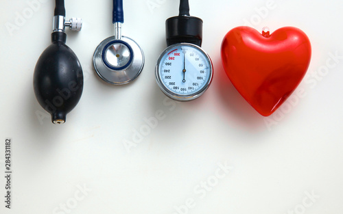 Cuadros en Lienzo  Blood pressure meter medical equipment isolated on white
