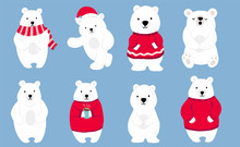 Simple White Bear Character Wear Red Sweater.Use For Christmas Invitation,printable,sticker.Vector Illustration Character Doodle Cartoon