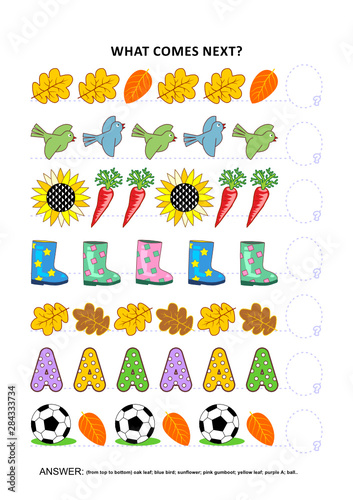 Cuadros en Lienzo  Autumn themed educational logic game training sequential pattern recognition skills: What comes next in the sequence? Answer included