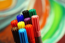 Set Of Colored Pens Markers On...