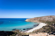 """Lampedusa Island Sicily - Rabbit Beach with no people and Rabbit Island Lampedusa """"Spiaggia dei Conigli"""" with turquoise water white sand at paradise beach."""