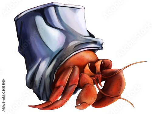 Illustration of hermit crab who used a can to his home Wallpaper Mural