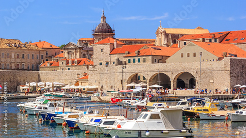 Recess Fitting Mediterranean Europe Coastal summer landscape - view of the City Harbour and marina of the Old Town of Dubrovnik on the Adriatic coast of Croatia