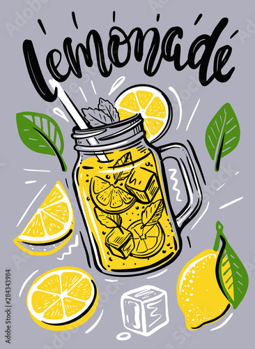 Cup with lemonade, sketch for your design Canvas-taulu