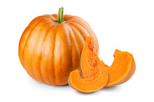 Pumpkin And Slices Isolated On...