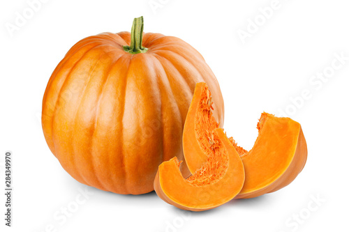 Fotografie, Obraz Pumpkin and slices isolated on white background