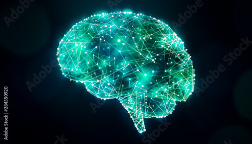 Cuadros en Lienzo Human brain design with bright glowing plexus lines network